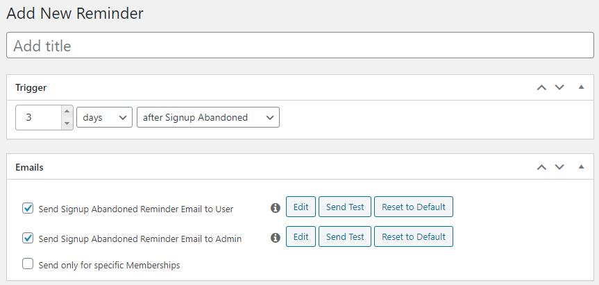 add a new reminder in MemberPress