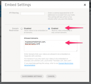 Wistia Embed Settings