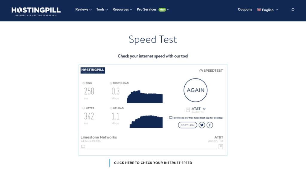 hostingpill website speed test tool