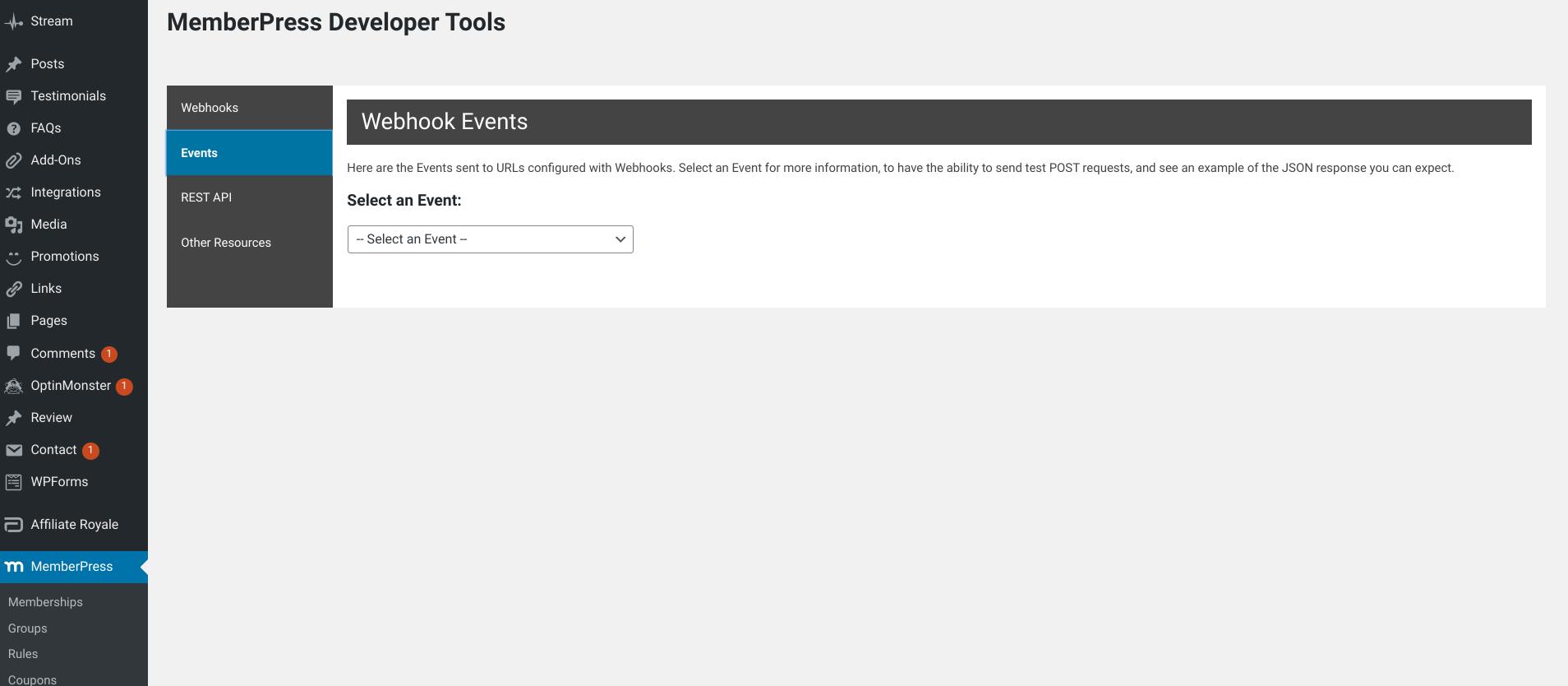 memberpress developer tools events