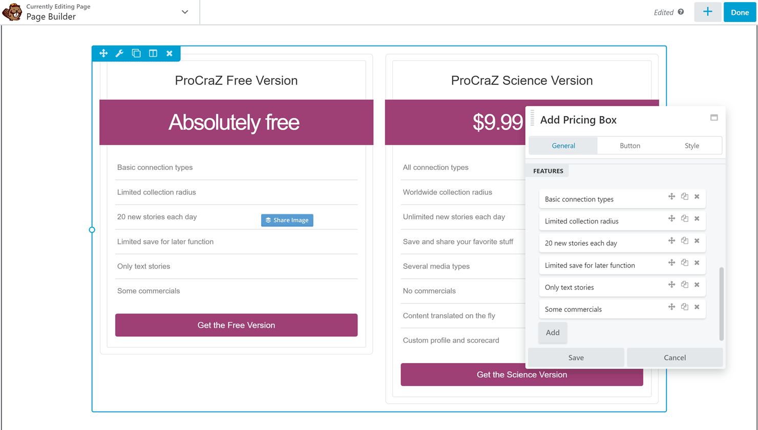 Pricing Table Element