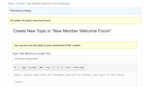 Create New Forum Topic