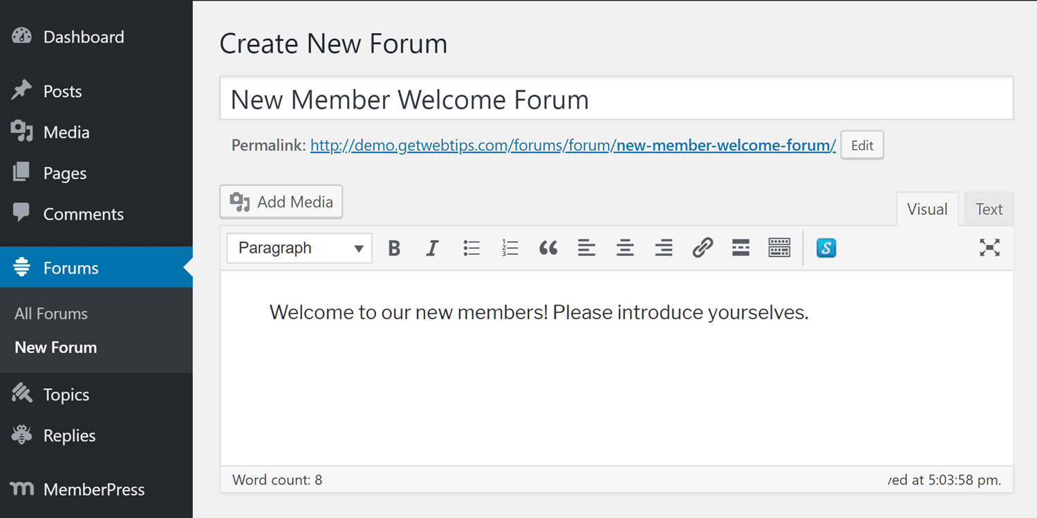 Create a new forum