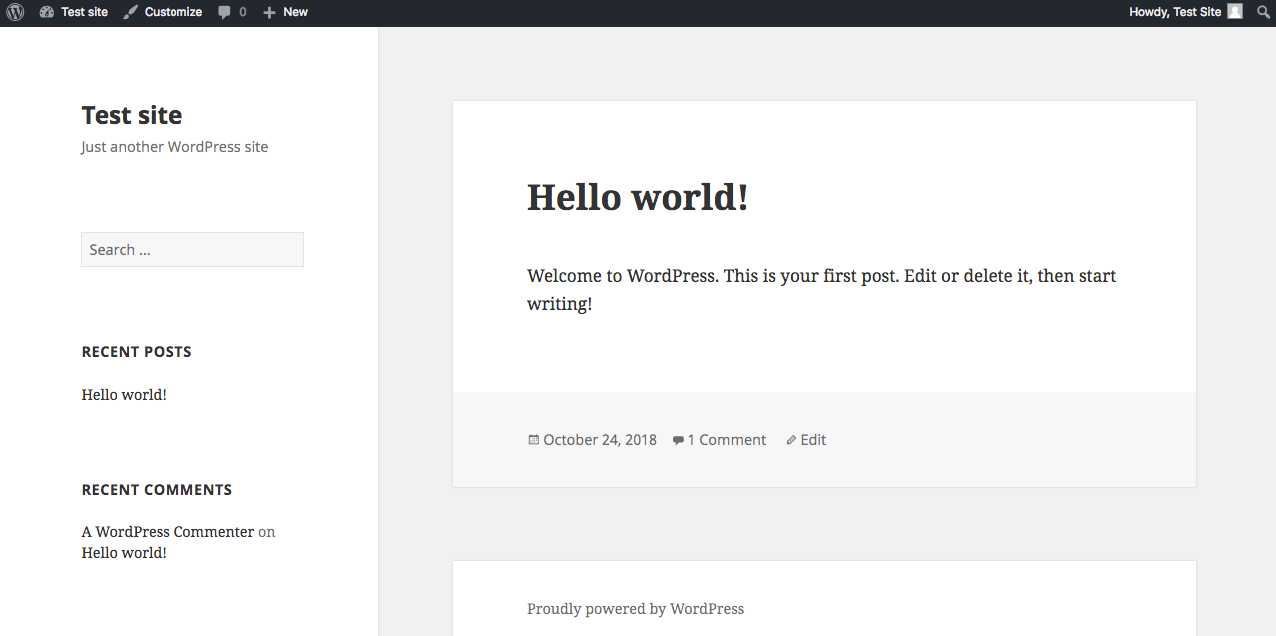 A WordPress site with a basic theme.