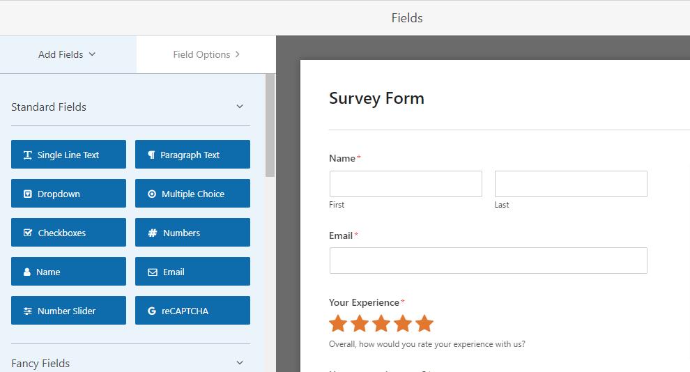 WPForms survey builder