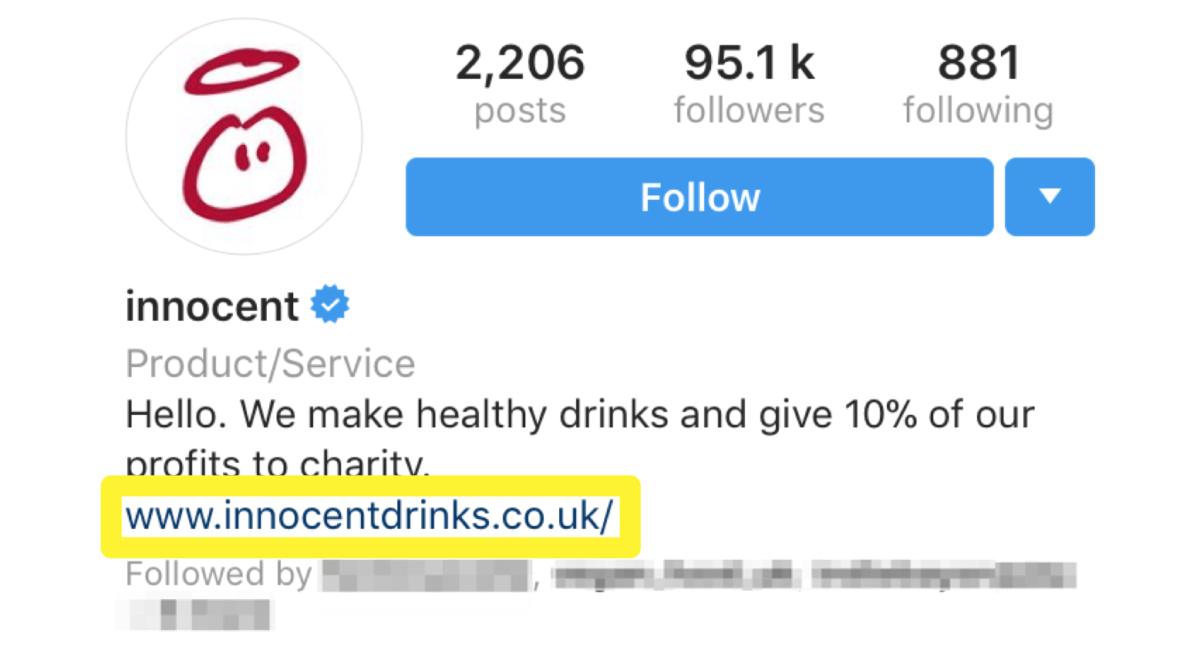 A link in an Instagram bio.