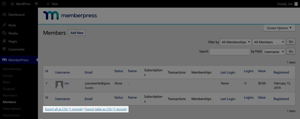 Export data from MemberPress