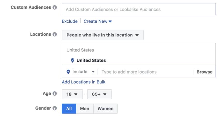 Creating a custom Facebook audience.