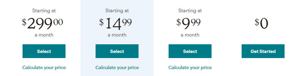 Examples of pricing table CTAs.
