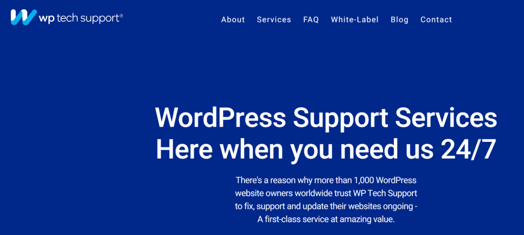 WP Tech Support homepage
