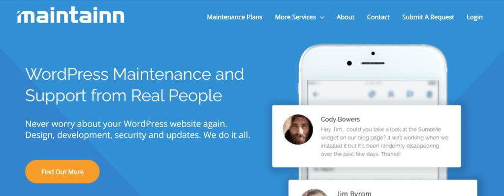 Maintainn WordPress support homepage
