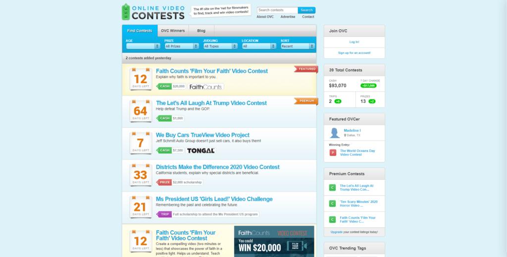 online video contests website
