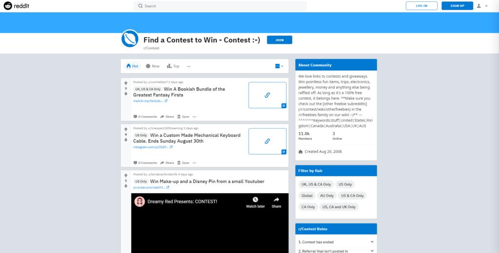 reddit giveaway interface