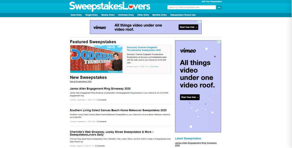sweepstakes lovers website