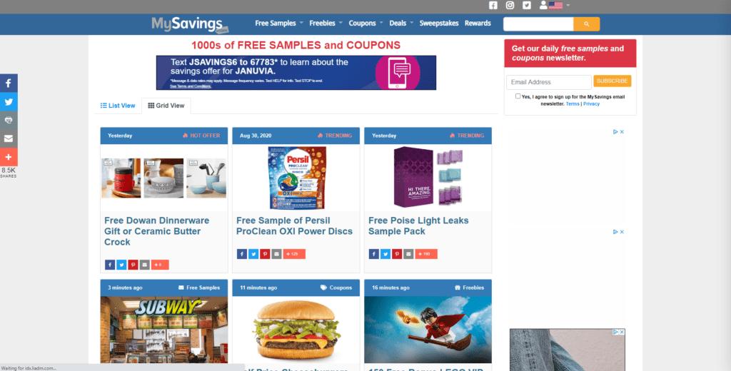 mysavings giveaway website