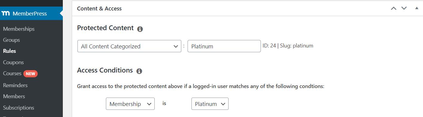워드프레스 멤버십 플러그인 MemberPress  - 특정 카테고리의 모든 글에 대한 콘텐츠 제한 규칙 설정하기