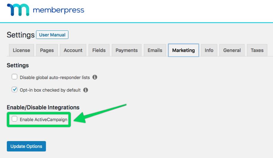 enable ActiveCampaign in MemberPress