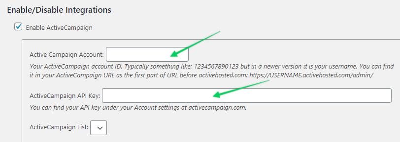 ActiveCampaign in MemberPress