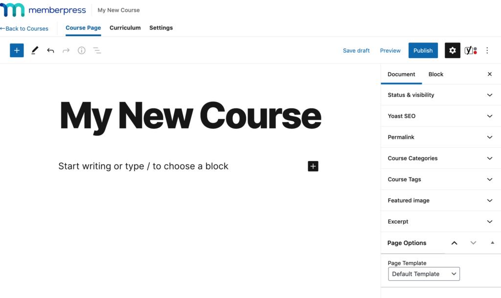The MemberPress course editor.