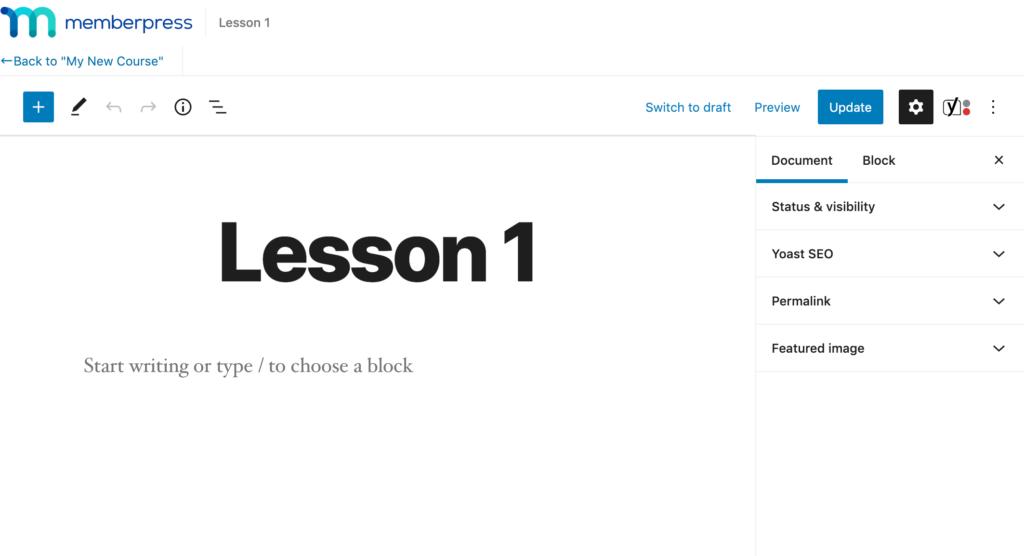 Editing a lesson in MemberPress.