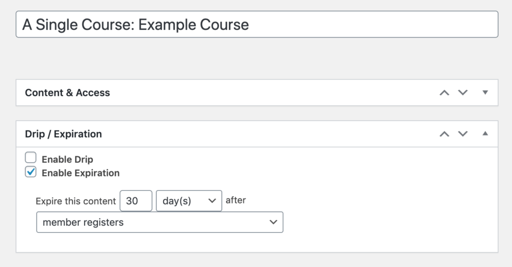 Enabling expiration for a MemberPress course using access rules.