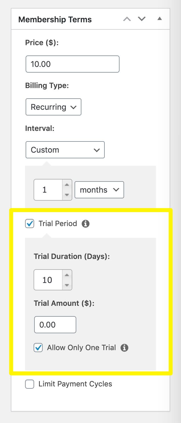 Enabling a free trial period for a membership in MemberPress.