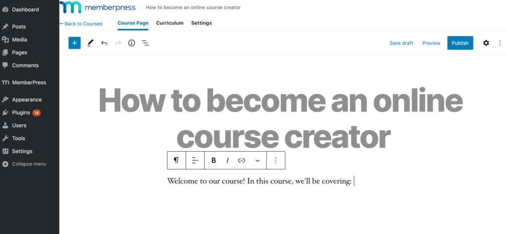 MemberPress' online course editor.