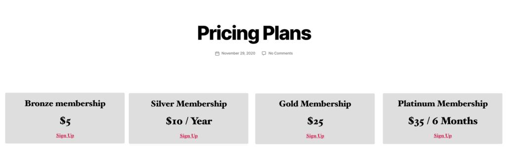 A MemberPress pricing page on a WordPress membership website.
