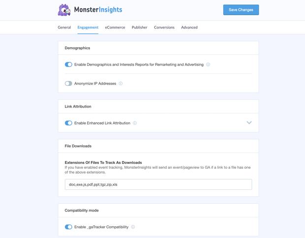 monsterinsights settings panel