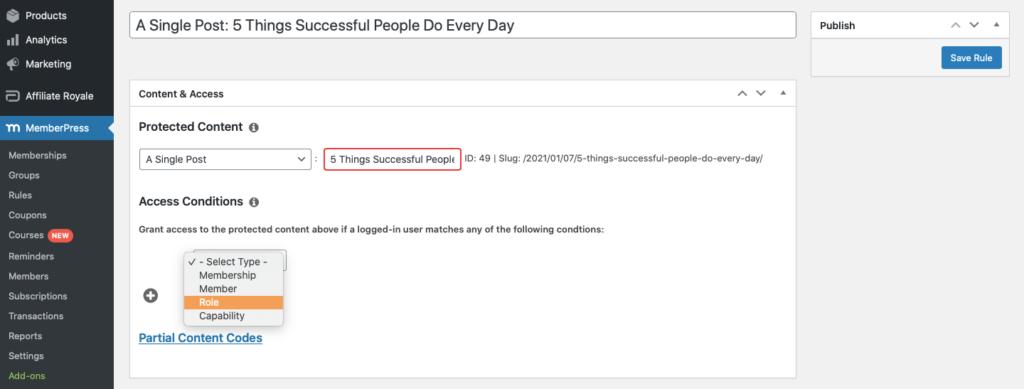 Screenshot of MemberPress admin - Rules options.