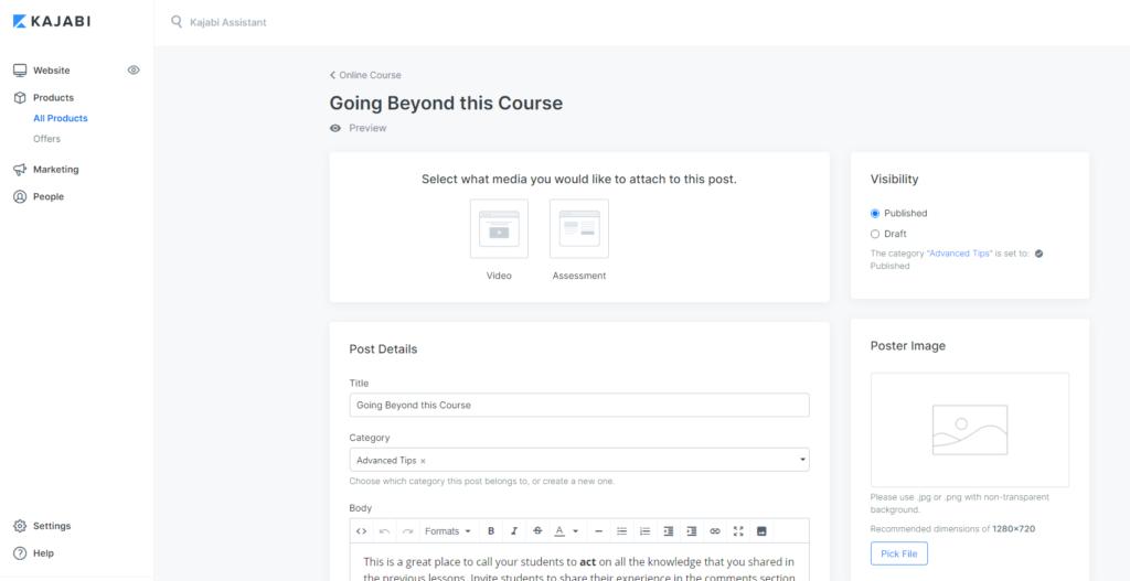Kajabi's course unit editing screen.