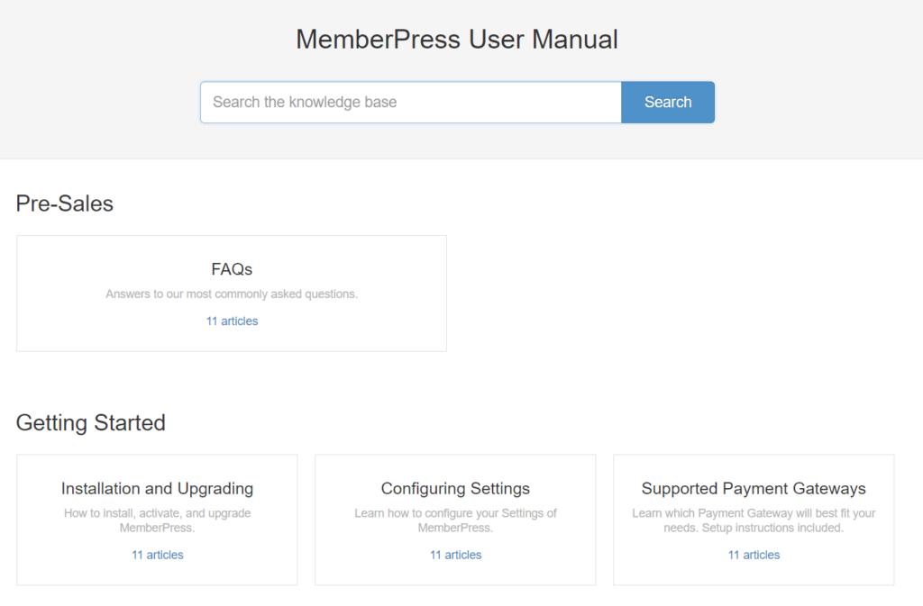 A screenshot of the MemberPress user manual.
