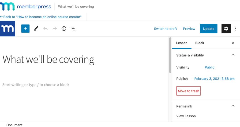 MemberPress WordPress dashboard.