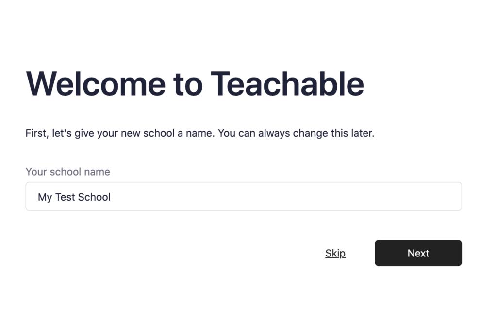 The Teachable setup screen.