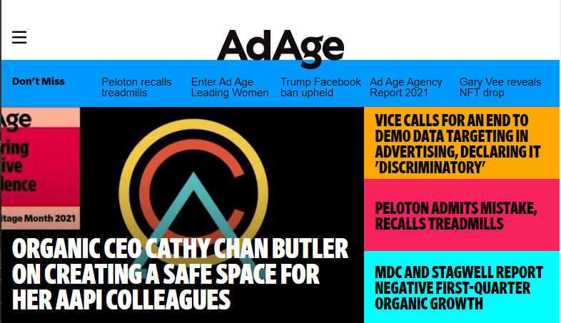 The Ad Age home page.