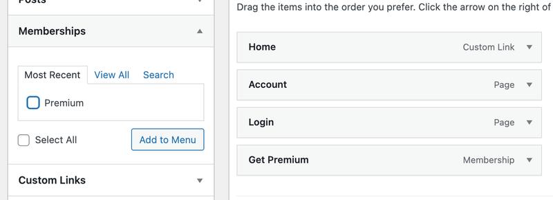 Adding memberships to your website menu.