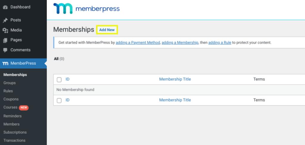 The screen to add a new membership in the MemberPress plugin.