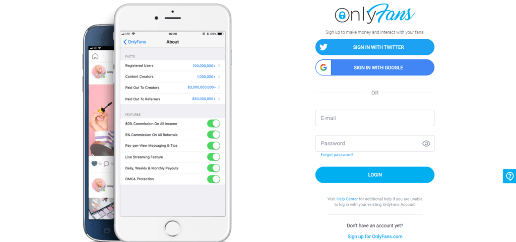 The OnlyFans membership site signup page