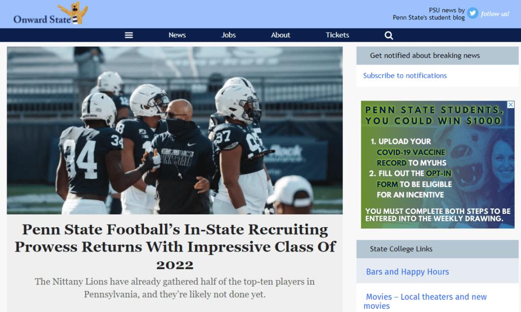 Onward State homepage
