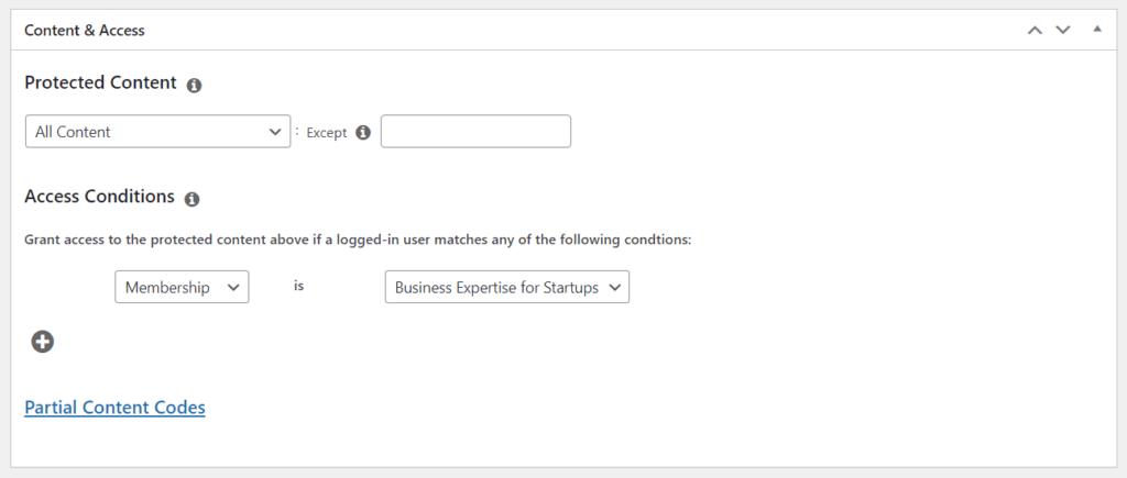 Setting access permissions in MemberPress