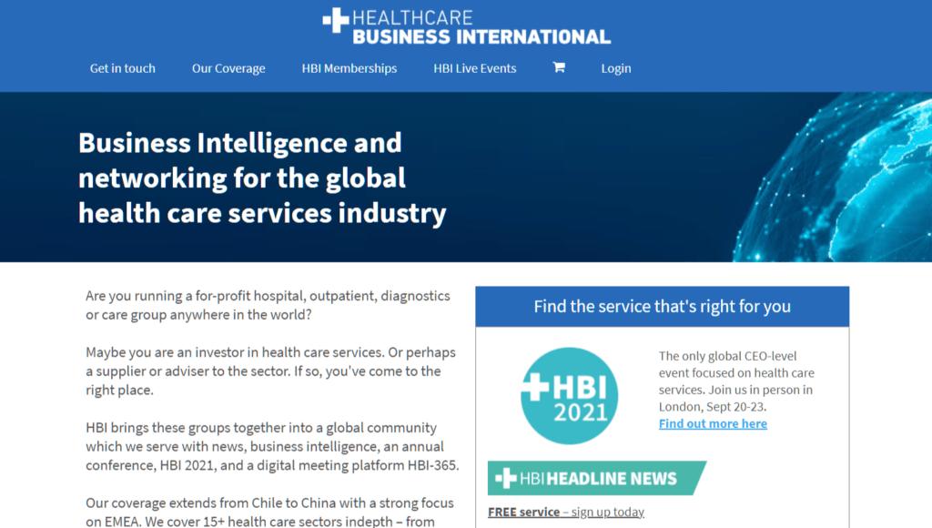 Healthcare Business International homepage
