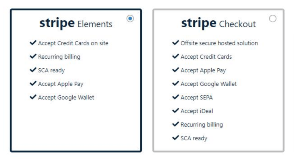 Stripe Elements and Stripe Checkout in the MemberPress setup interface