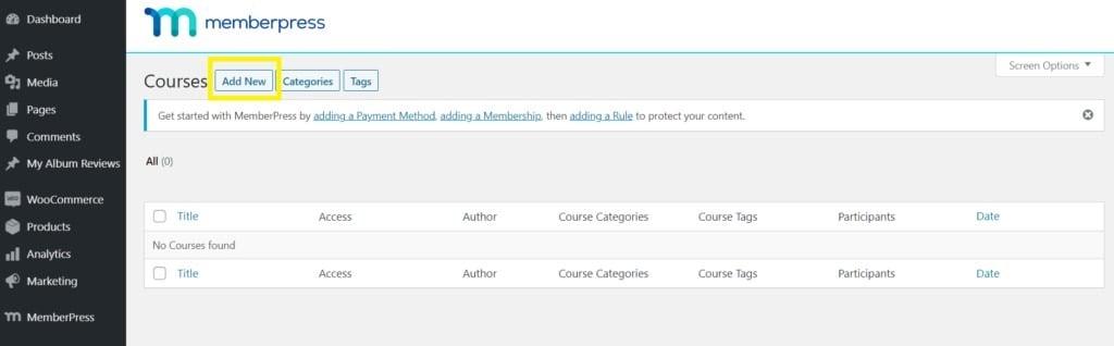Add new course in MemberPress
