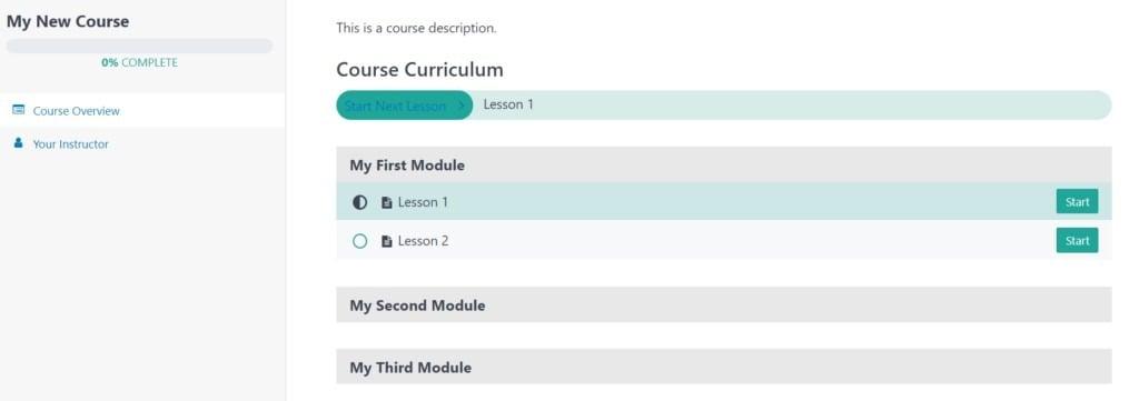 MemberPress course curriculum front-end look