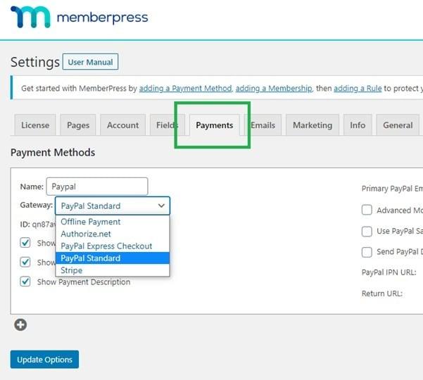 Membership payment tab
