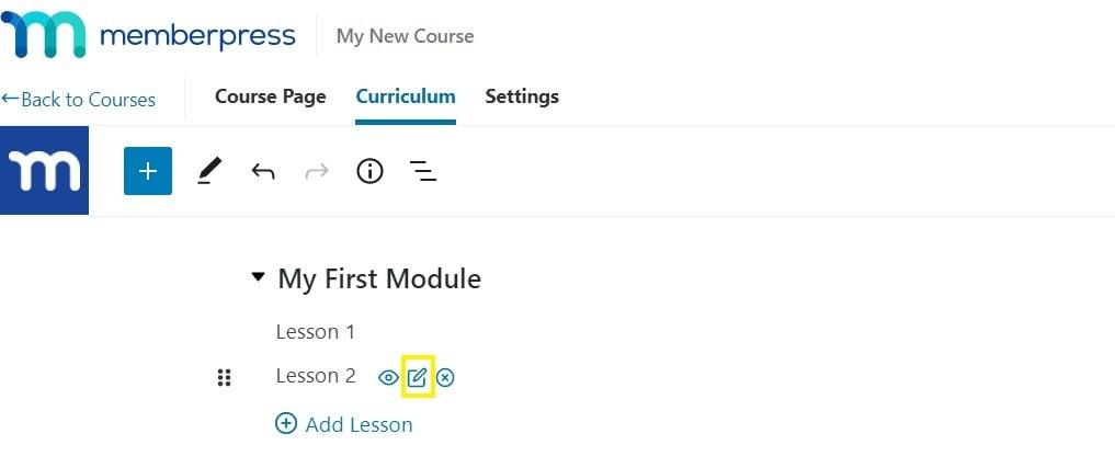 Add lesson content in MemberPress Course curriculum